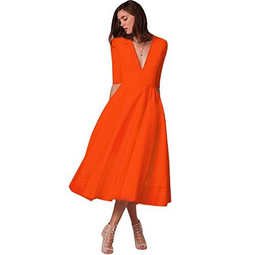 5538fcf713346 Aniversaire Dance Cérémonie Moulante Chic De Fête Club V Orange Demoiselle  Cocktail Manches Col Soirée Longue Robe ...