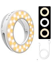 etasche Selfie Ring Licht Ring Licht Clip on LED Camera Licht met 60 LEDs Licht 4 Helderheid Niveaus USB Oplaadbare Ring Licht Ring Licht, Compatibel iPhone, Android, iPad Laptop
