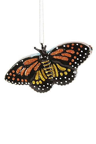 Cody Foster & Co Monarch Butterfly Glitter Glass Hanging Ornament