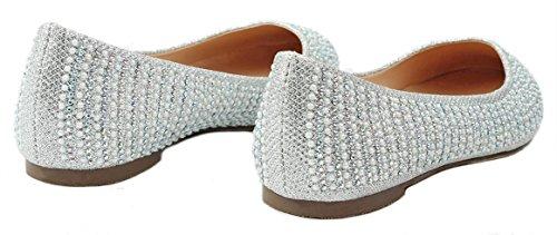 On Pearl Ballet Flat Dressy Slip Women Mesh Sparkle Silver Glitter Shoes Loafer Rhinestone WfTOw04aqw