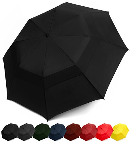 EEZ-Y Folding Golf Umbrella 58-inch Large Windproof Double Canopy - Auto Open, Sturdy and Portable (Black)