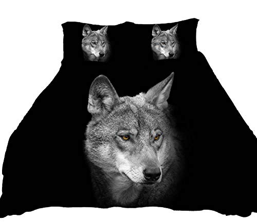 LUOHOME 3 Pcs Soft Luxury Youth 100% Polyester Shell Fully Reversible 3-Piece Modern 3D Wolf Print Duvet Cover Set Twin Size Full Size Queen Size King Size Blue No Comforter (Full) (Wolf Bedding Full Size)