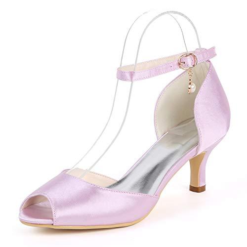 Con Corte Pink Plataforma Zapatillas Hebilla Cm Tacón Zapatos Mujer Noche Satén Boda De Alto Y Cerrada Layearn tacones 6 EUqOn1