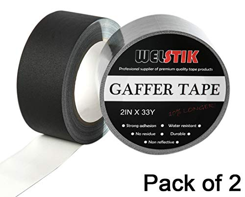 """Welstik Tape 2 Pack Gaffer Tape Black,2""""X 33 Yards-10% Longer-Heavy Duty Gaffer Floor Tape for Cables, Photography, Theater Stage Setup,Interior Design,Residue Free,Non Reflective, Easy to Tear"""