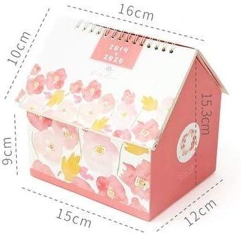 Tischkalender Kalendarien 2020 Creative-Folding Haus Tischkalender Starry Night-Cartoon-Tier-Kalender Desktop Storage Box (Color : E)