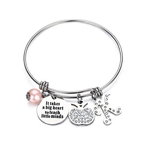 "UdobuyPersonalized Teacher Bangle Bracelet -Teacher Gift ""It Takes a Big Heart to Help Shape Little Minds"" Charm Bracelet,Adjustble Bangle"
