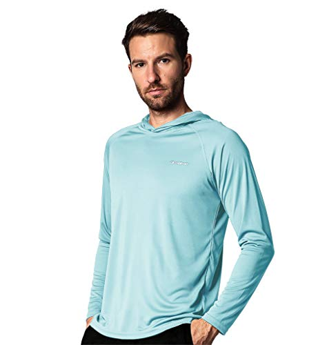 Men's Sun UV Protection Hooded Long Sleeve T-Shirt,Running SPF Athletic Surfing Tourism Top Shirts