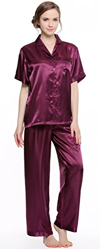 Sunrise Women's Short Sleeve Classtic Satin Pajama Set (Large, Purple) ()