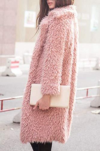 Parkas Pink Outerwear De Mujer Invierno Moda Manga Casuales Sólido Chaqueta Termica Mujeres Largos Battercake Piel Larga Color Sintética Cómodo Polares U0BHgq0w