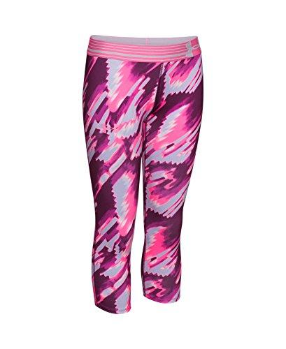 Under Armour Girls' HeatGear Armour Printed Capri, Beet/Pink Punk, Youth X-Small