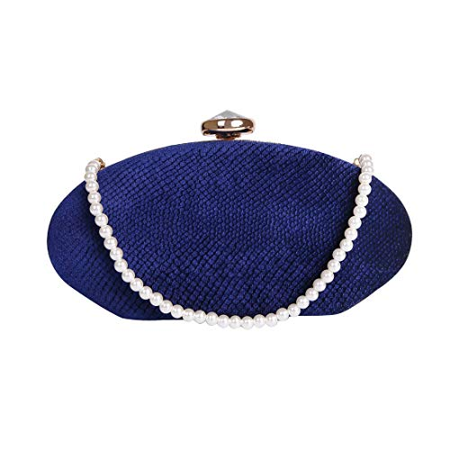Womens Evening Clutch Bags Pearl Beaded Cocktail Handbag for Prom Bride Wedding with Shoulder Strap (Blue)