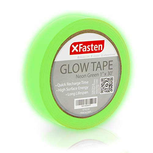 XFasten Glow in The Dark Tape, Yellow/Green, 1-Inch x 30-Foot Photo-Luminescent Glow Dark Duct Tape -