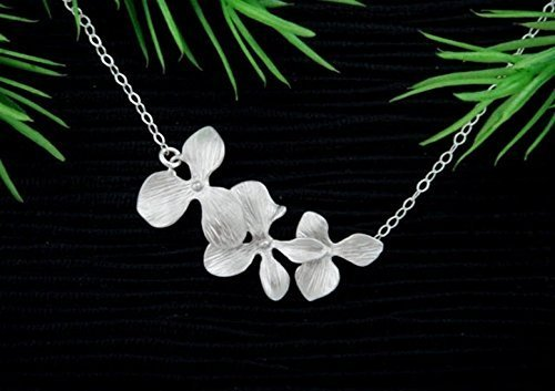Dainty Trio Orchid Flower Necklace in Silver, Gold or Rose Gold (Orchid Trio)