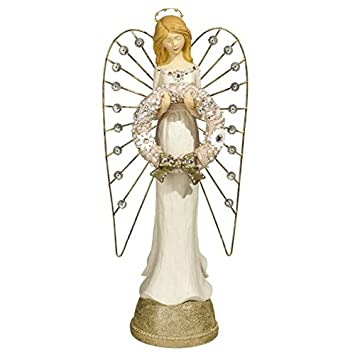 14 Lighted Gold and White Angel Figurine Holding Wreath