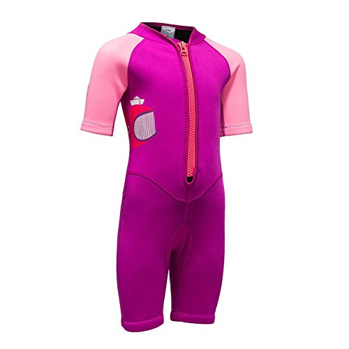2MM Neoprene One Piece Short Sleeve Wetsuits for Kids Boys Girls Front Zipper Swimsuit UV Protection (Rose Red Pink, ()