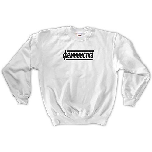 Blanc Unisex Feminist Hommes russian Sweatshirt Outsider wpXSx8