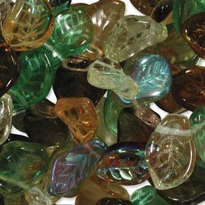 UnCommon Artistry Earth Tones Leaf Mix Beads (Pack of 50) - Fall Lampwork Beads