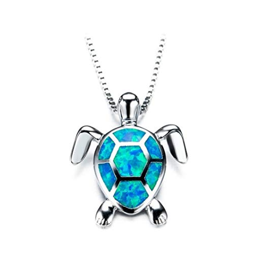 (lehao Vintage Opal Sea Turtle Pendant Necklace for Birthday Banquet Party Jewelry Gifts for Women,Blue )