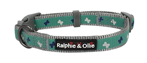 - Ralphie & Ollie Reflective Dog Collar, Soft Padded Adjustable Pet Collars for Dogs,Cute Adorable DOG BONE Pattern,Quick Release Buckle,Breathable Nylon,Matching Leash Sold Seperately (SMALL)