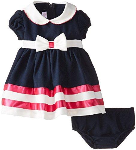 Bonnie Baby Baby-Girls Newborn Nautical Bow Front Dress, Navy, 3-6 Months