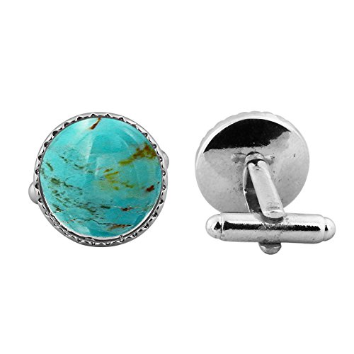 - 16.15ct,Genuine Turquoise & 925 Silver Plated Cufflinks
