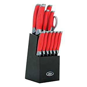 Oster Lindbergh 14 Piece Cutlery Set, Stainless Steal with Black Block - Features Red Handles