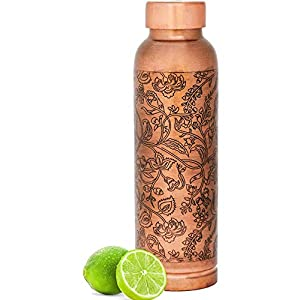 balancehome Pure Copper Water Bottle (1 L, Brown)