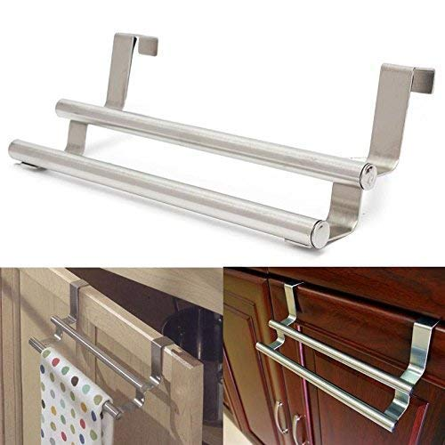 Stainless Steel Double Rail Towel Storage Bar Over The Door Cabinet Table Cloth Holder Home Kitchen Bathroom Storage Rack