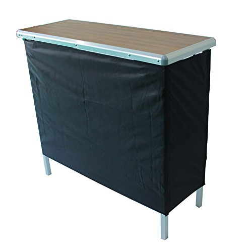 Sports Festival Portable High Top Party Bar Table, Includes 2 Front Skirts and Carrying Case (Wood Texture)