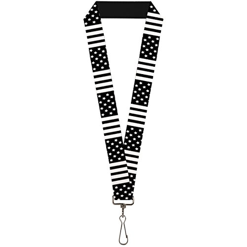 (Buckle-Down Lanyard - American Flag CLOSE-UP Black/White)