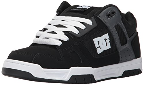 DC Men's Stag Sneaker, Black/Grey, 8 D US