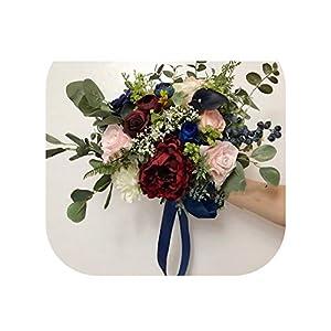 Burgundy Wedding Bouquets Pink Blue Rose Peonies Garden Bridal Flowers Bridesmaids Bouquets Boho Bouquet 2019 24