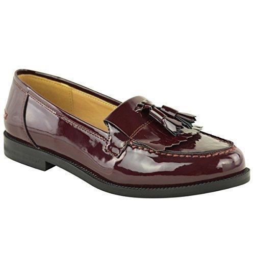 Borla Zapatos Casual Escuela Borgoña Charol Mujer Oxford Zapato Plano Oficina wXgdnUvq