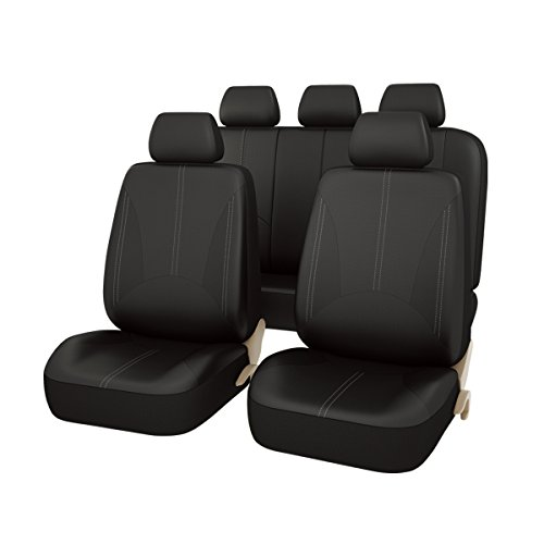 NEW DESIGN-CAR PASS 11PCS Elegant Luxurous Leather Universal Car Seat Covers Set - fit for Vehicles,Cars,SUV With Opening Holes for headrest and selt belt,Airbag Compatible (Elegant Black)