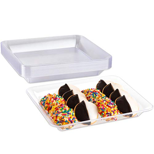 Impressive Creations Clear Rectangular Plastic Serving Tray Platter (10 PK) 10