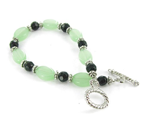 Linpeng Women's Silver Toggle Bracelet /New Jade Flat oval &Faceted Black Beads / Sizes 6 to11mm  / Length around 7.5