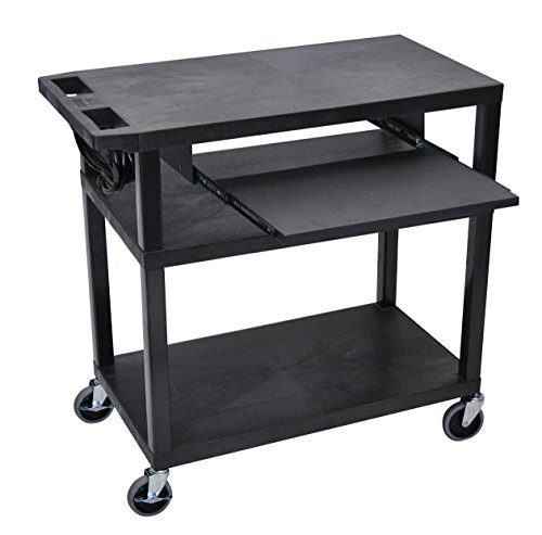 LUXOR EA34LE-B Presentation Station, 3 Flat Shelves with Pullout Shelf and Electric, Black ()