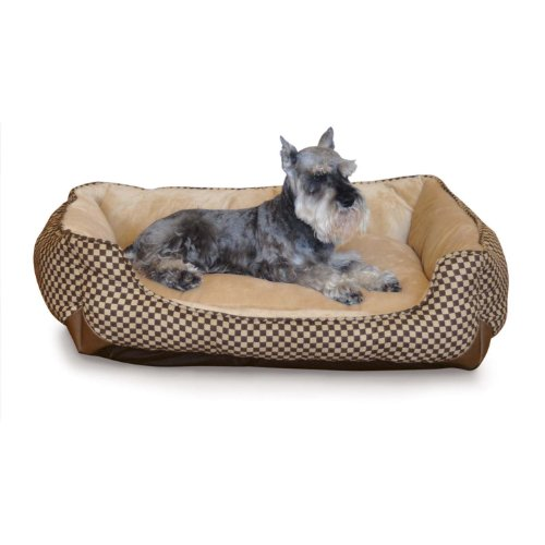 K&H Pet Products Self-Warming Lounge Sleeper Pet Bed Medium Brown Square Print 24