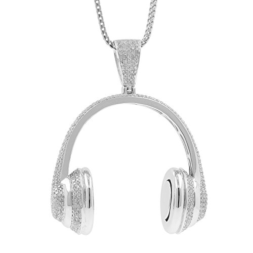 3.58ct Diamond Headphone Mens Hip Hop Pendant Necklace in 925 Silver by Isha Luxe-Hip Hop Bling