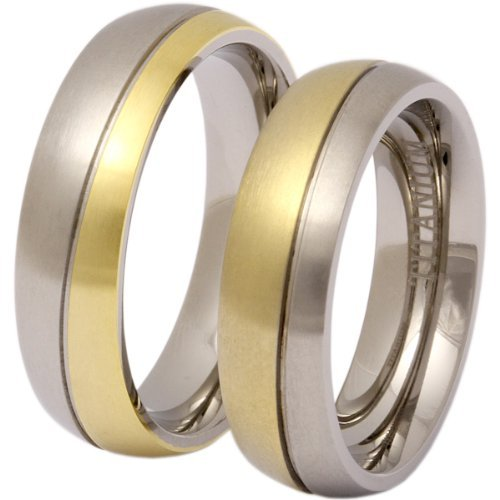 Jewellery Excellent Women's 2 high quality Titanium Partnership rings, engagement rings, rings with free-of-charge engraving – Titanium