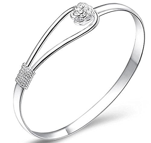 SeaISee Plated Women Jewelry 925 Silver Sterling Silver Solid Bracelet Fashion Cuff Bangle Chain Bracelets