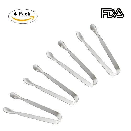 Appetizer Tongs (Sugar Tongs for Tea Party, Small Kitchen Tongs, Amison Food-Grade Premium 304 Stainless Steel Tongs, 4-1/2 Heavy Duty,Ice Tongs, Mini Serving Tongs, Appetizer Tongs, Pack of 4)