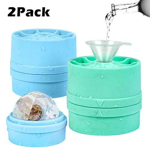 Round Ice Ball Spheres with Lid,Large 2-inch Ice Balls Molds for Whiskey&Cocktails Chilled Stackable Flexible Ice Molds for Parties,Home,Bar Use(Green+Blue - 2 Sphere