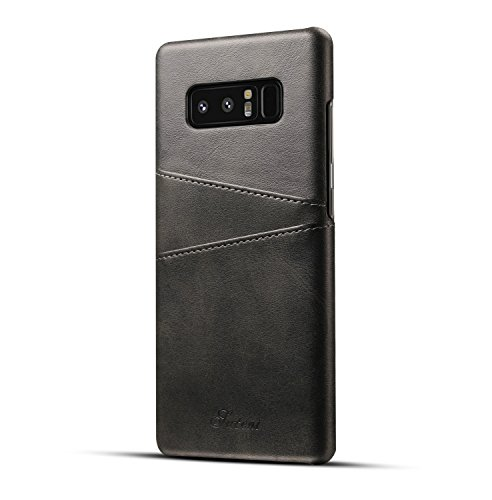 Compatible for Galaxy Note 8 Leather Card Case, Fashioneey Minimalist Vintage Synthetic Leather Wallet Case, Ultra Slim Professional Cover with 2 Card Holder Slots Compatible for Samsung Galaxy Note 8