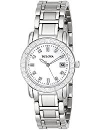 Women Bulova 96R105 Dress Diamond Stainless Steel Mother of Pearl Dress Watch (Certified Refurbished)