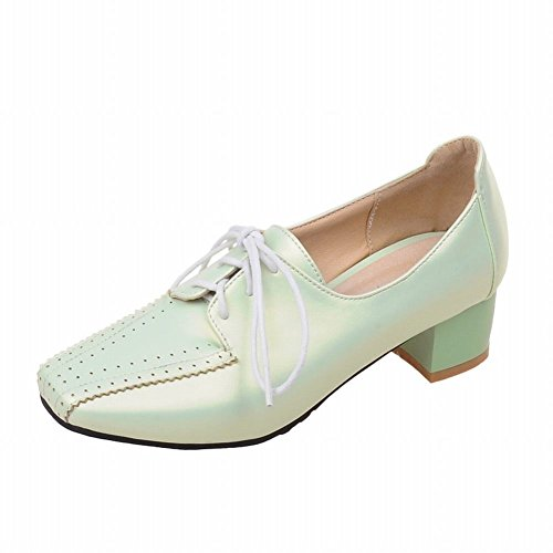 Latasa Mode Féminine Square-toe Lacets Mid Chunky Talon Chaussures Oxford Vert Clair