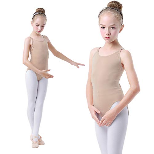 (HETH Girls Nude Ballet Leotard Seamless Camisole Undergarment with Adjustable Straps for Dance/Ballet/Gymnastics (Nude, L-Child 5-8Years))