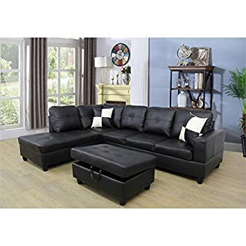 Amazon.com: Ruscal Faux Leather Sectional Sofa with Ottoman ...