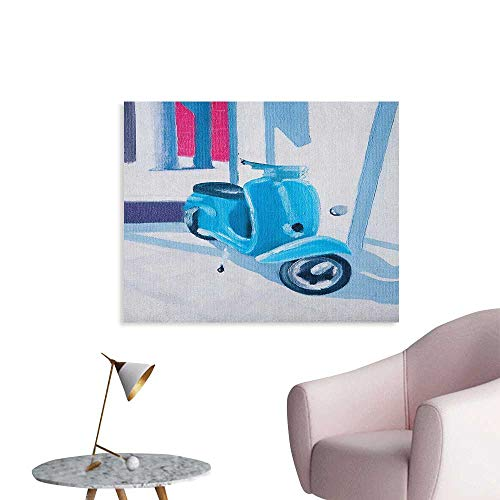 Anzhutwelve Country Poster Wall Decor Mini Scooter in Soft Mediterranean Mid Day Italian Town Life Symbol Art Paint Print Art Poster Blue Grey W36 xL24