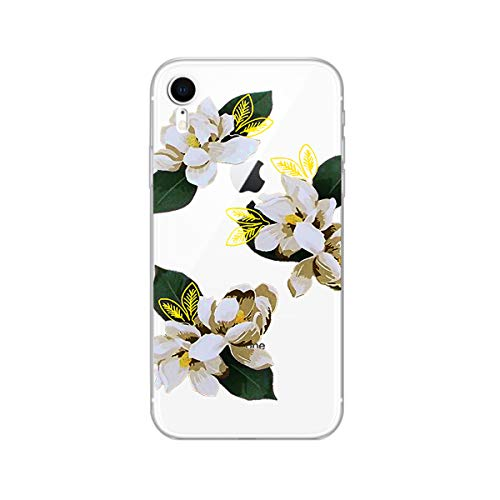 FancyCase Compatible with iPhone XR -New Floral Style Soft TPU Protective Clear iPhone XR Case by FancyCase (White Camelia Flower)